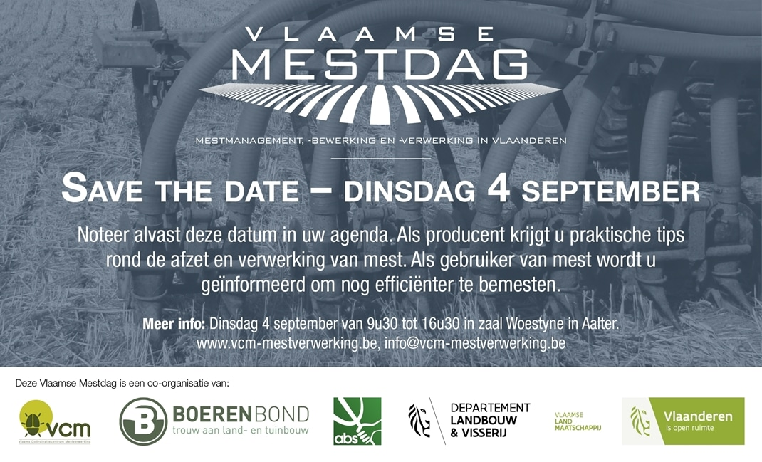 Save the date 4 september 2018: De Vlaamse Mestdag